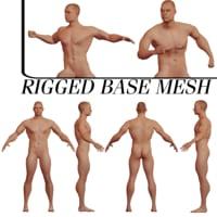 rigged caucasian muscular base mesh 3D model