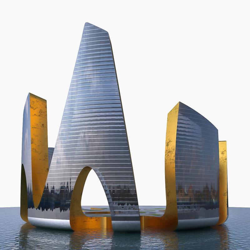 modern skyscraper building 3D