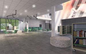 3D cultural center interior night model