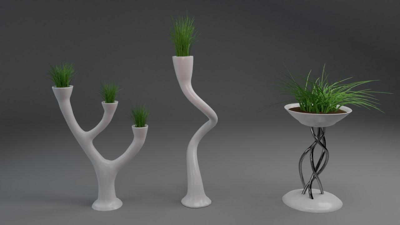 3D set original vases flowers