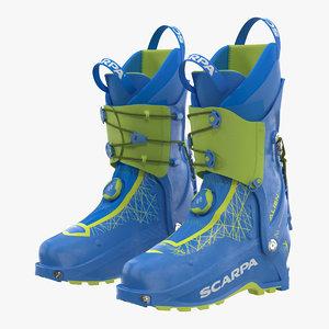 ski boots blue 3D model
