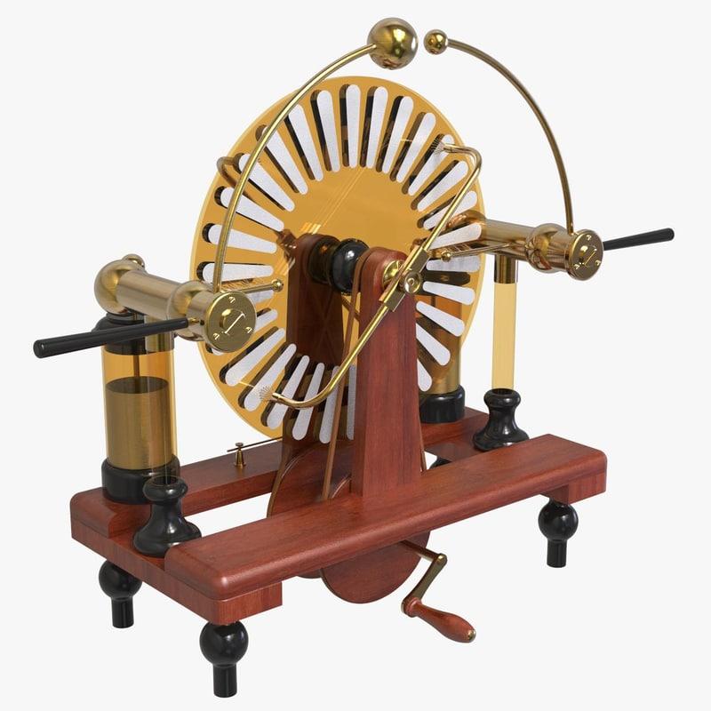 3D model victorian wimshurst machine