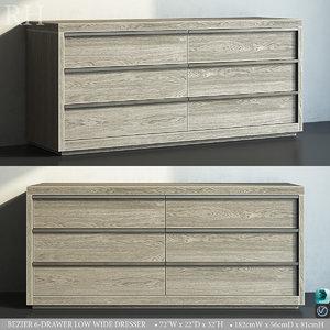 restoration bezier 6-drawer wide 3D model