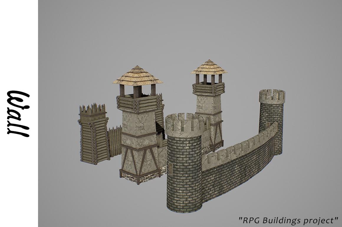 medieval walls buildings 3D model