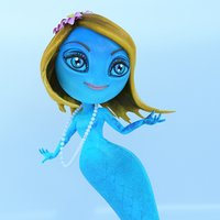 3D mermaid cartoon ready