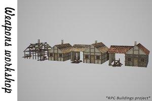 3D medieval weapons workshop buildings