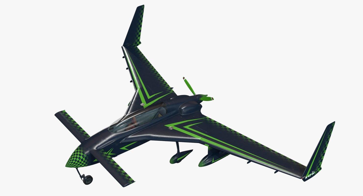 rutan long-ez aircraft 3D model