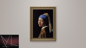 painting girl pearl earring 3D