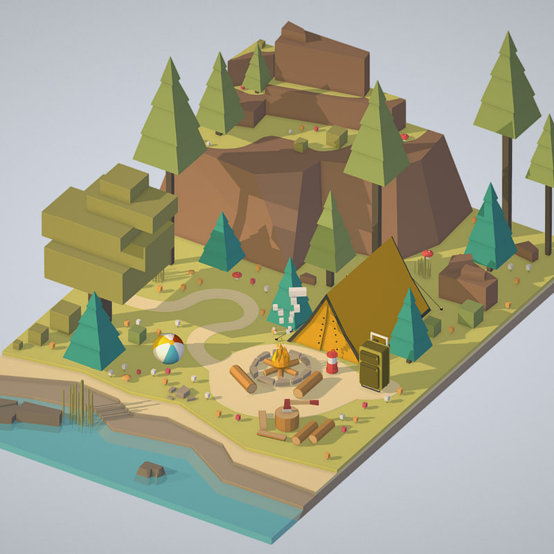3D model isometric campsite river mountain
