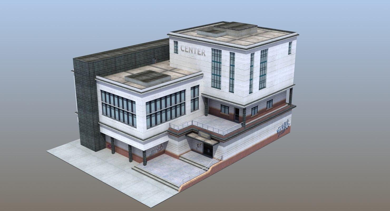 modern school building 3D model