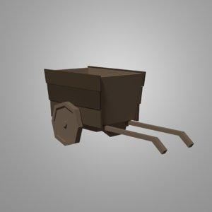 3D model old haystack cart