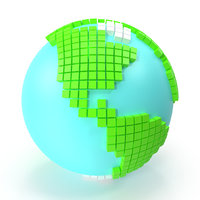 world globe large cubes 3D model