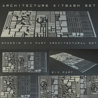 3D kitbash kit architecture model