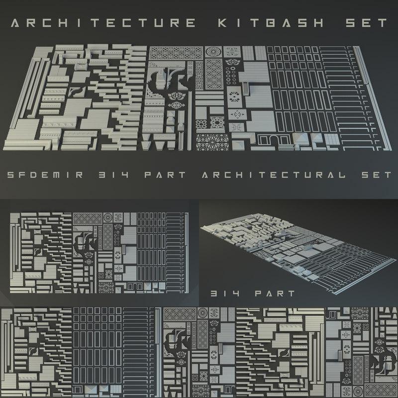 3D kitbash kit architecture model