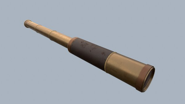 3D model antique telescope rig pbr
