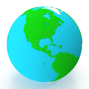 world globe small cubes 3D model