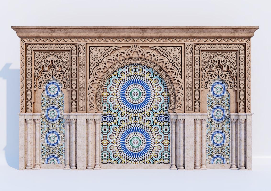 ornamental islamic arches 3D model