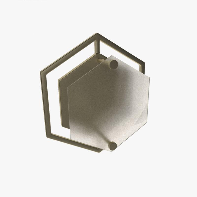 3D hex geometric wall sconce model
