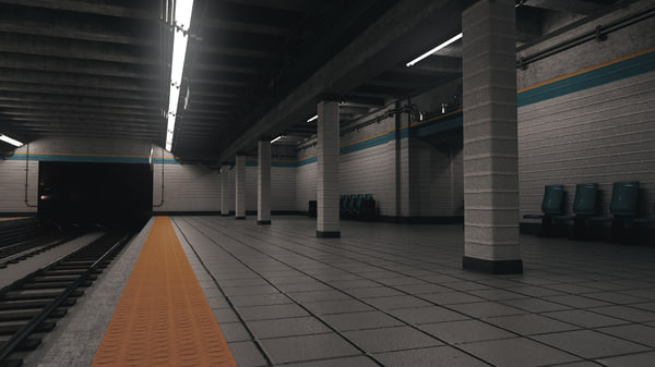 subway station scene 3D model
