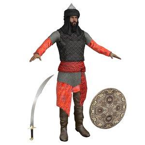 3D saracen warrior man model