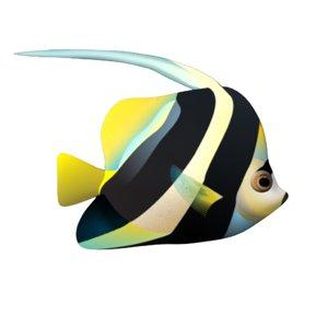 3D model butterfly fish strip