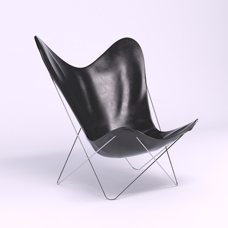 3D leather butterfly chair model