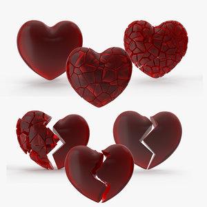 3D model hearts v-ray