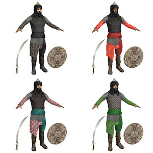 3D model pack saracen warriors