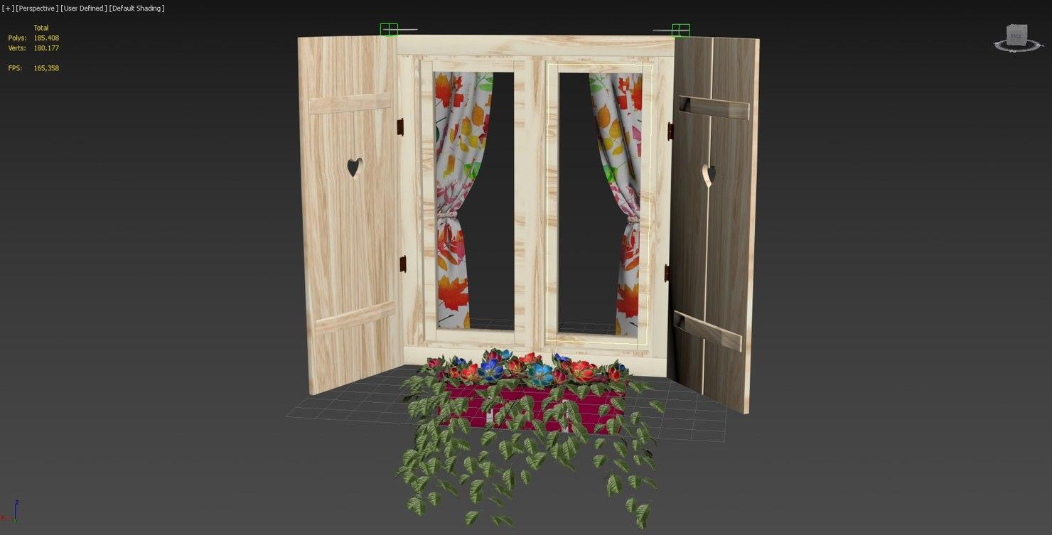 wooden window 3D model