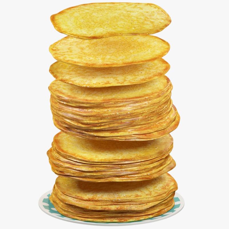 pancakes plate pan 3D model