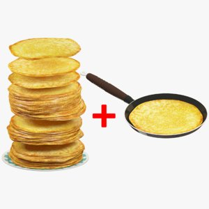 pancakes plate pan 3D model