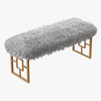 3D wool morris upholstered bench