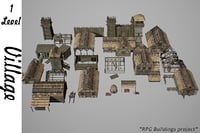 3D model medieval village buildings