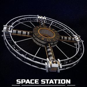 3D space station torus sci-fi