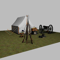 civil war camp scene 3D