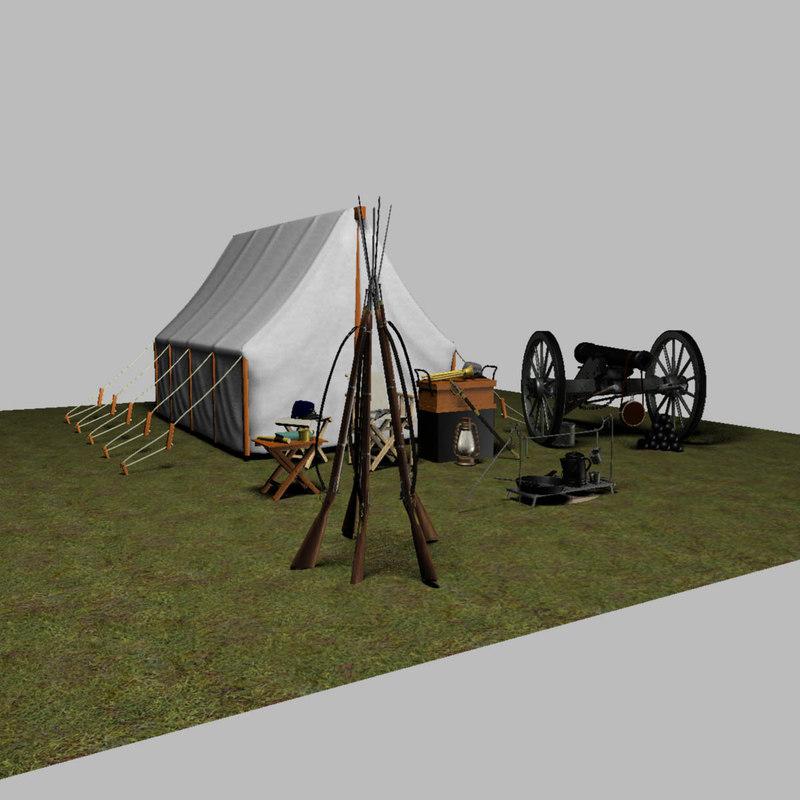 civil war camp scene 3D