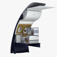 business wall seats airbus a380 3D model