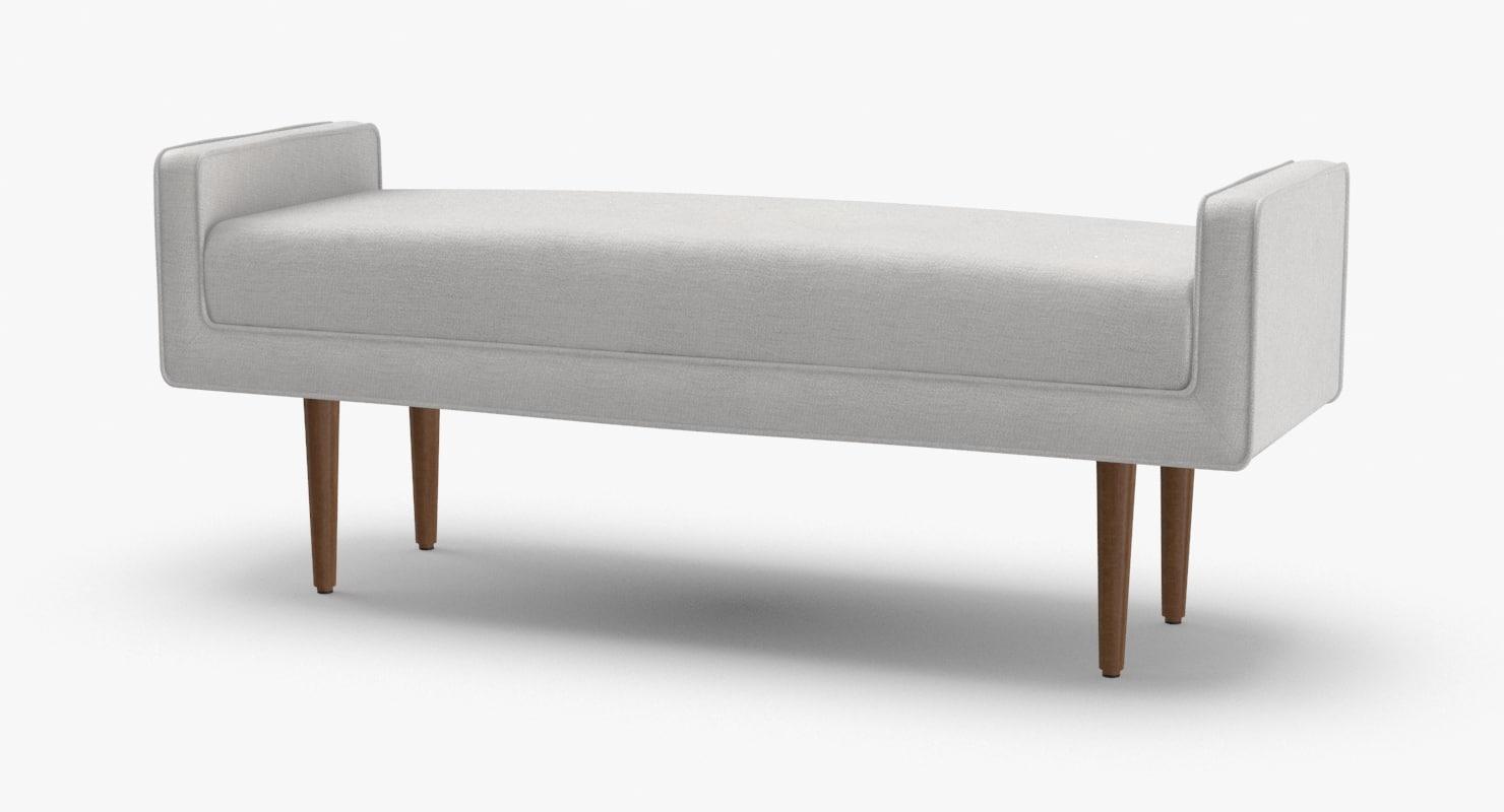 mid-century-modern-bench 3D model