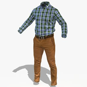 3D clothes office chinos