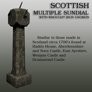 3D stone sundial model