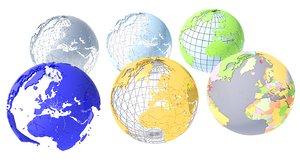 3D model geopolitical globe