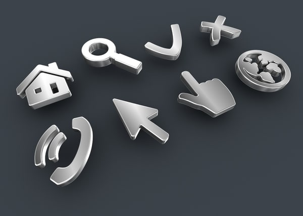 web icons set 3D model