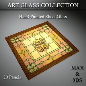 art glass set 17 3D model