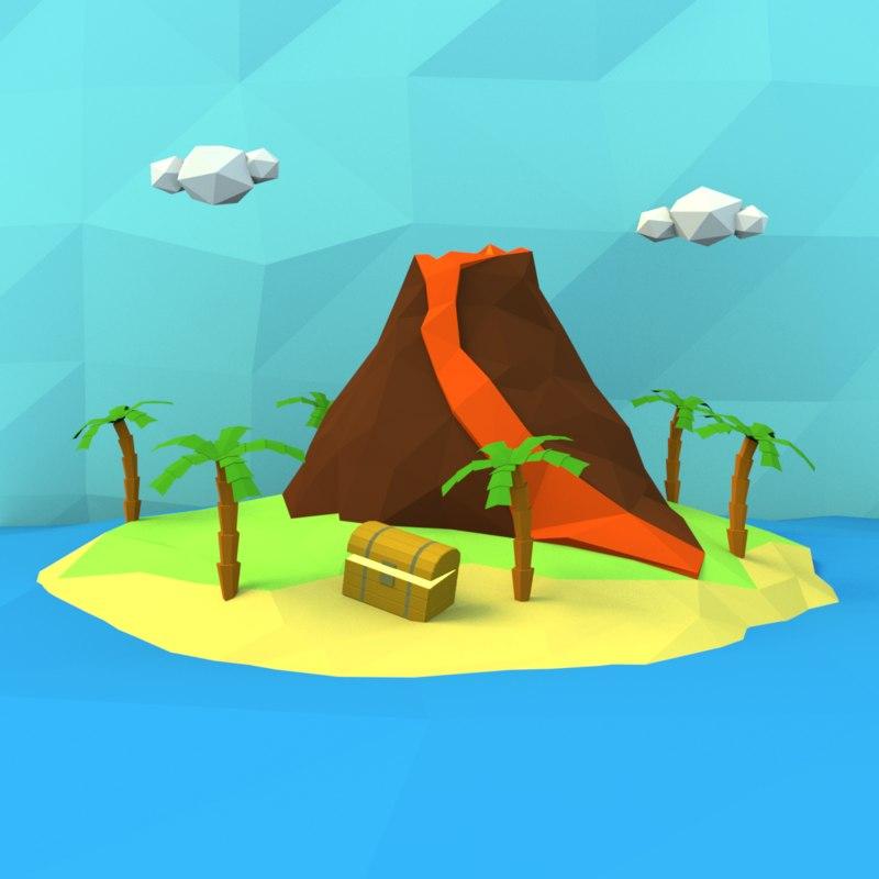 cartoon treasure island 3D