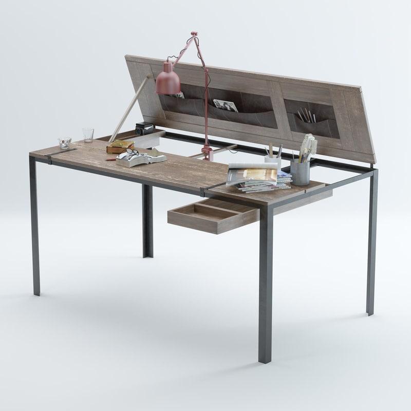 convertible-indoor-desk-table-by-manotec 3D model