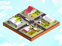 3D cartoon city suburbs