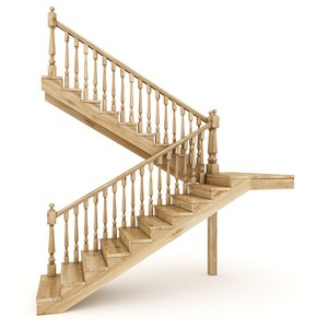 wooden stairs 3D model