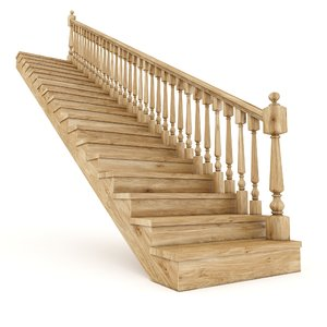 3D wooden stairs straight