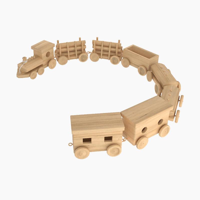 3D model toy wooden locomotive