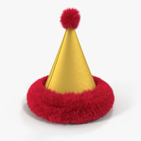 3D fur cone party hat